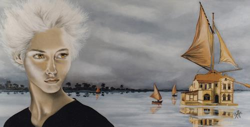 dominique hoffer, LA SORCIERE DES GALAPAGOS, Fantasie, Abstrakte Kunst, Expressionismus