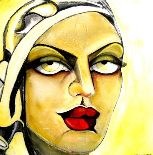 Luana Sacchetti, Persian beauty with yellow headscarf, Akt/Erotik: Akt Frau, Art Déco, Abstrakter Expressionismus