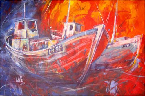 webo, fischerboote, Verkehr: Schiff, Realismus, Expressionismus