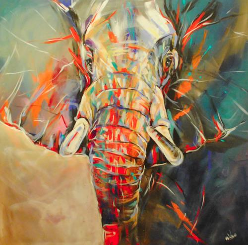 webo, Elefant, Tiere: Land, Diverse Tiere, Abstrakter Expressionismus