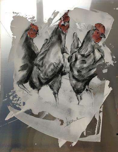 webo, glückliche Hühner, Tiere: Land, Tiere, Abstrakte Kunst, Expressionismus