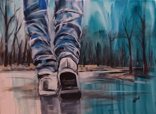 webo, soweit die Füße tragen, Landschaft: Herbst, Diverse Menschen, Abstrakte Kunst, Expressionismus