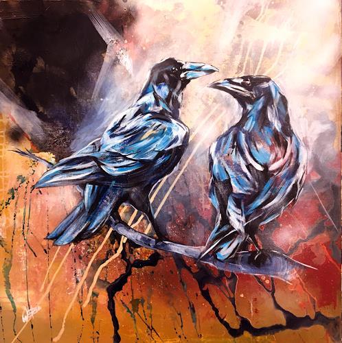 webo, die beiden Raben, Tiere, Tiere: Luft, expressiver Realismus, Expressionismus
