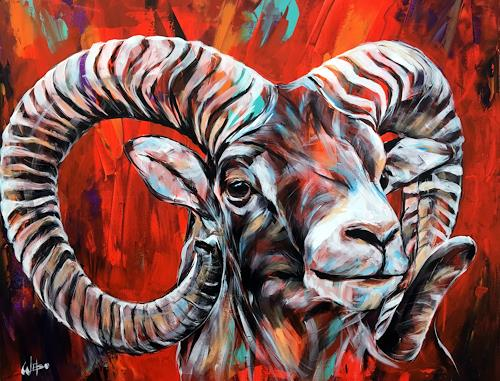 webo, Widder, Tiere, Tiere: Land, Abstrakte Kunst, Abstrakter Expressionismus