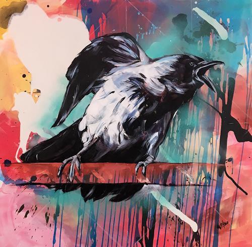 webo, schimpfender Rabe, Tiere, Tiere: Luft, Abstrakte Kunst, Abstrakter Expressionismus