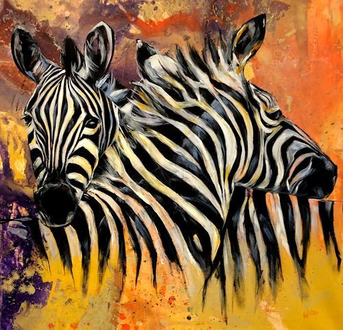 webo, Zebras, Tiere, Tiere: Land, Abstrakte Kunst, Expressionismus