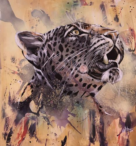 webo, Leopard, Tiere, Tiere: Land, Abstrakte Kunst, Expressionismus