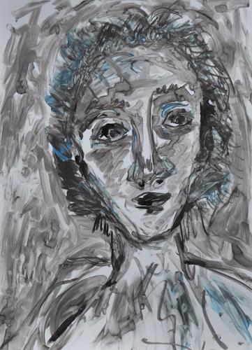 Klaus Ackerer, O/T, Menschen: Gesichter, Abstrakte Kunst