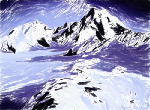 Klaus Ackerer, 1 Finger zeig, Landschaft, Abstrakte Kunst, Expressionismus