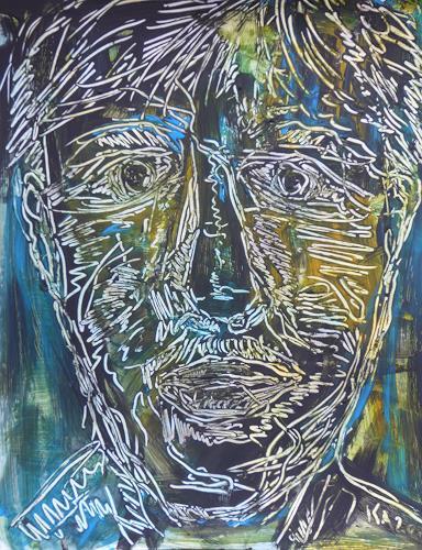 Klaus Ackerer, Mann mit Froschauge, Abstraktes, Abstrakte Kunst