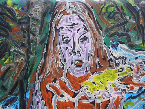 Klaus Ackerer, Frau mit Frosch in der Hand, Fantasie, Abstrakte Kunst