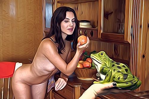 Klaus Ackerer, girl with frog, Natur, Abstrakte Kunst