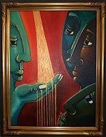 LUR-art--Therese-Lurvink-Abstraktes-Menschen-Gruppe-Moderne-Abstrakte-Kunst