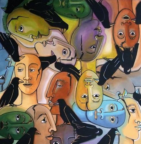 LUR-art/ Therese Lurvink, Jedem seinen Vogel, Abstraktes, Menschen: Gruppe, Expressionismus