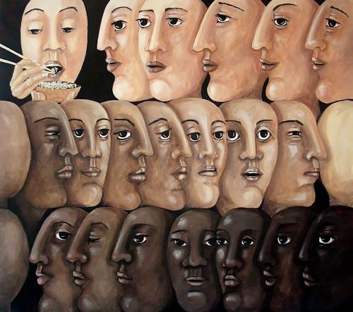 LUR-art/ Therese Lurvink, Anstehen, Diverse Gefühle, Menschen: Gesichter