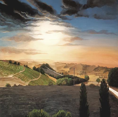 LUR-art/ Therese Lurvink, Sommer in Italien, Landschaft: Hügel, Landschaft: Sommer, Abstrakte Kunst, Expressionismus