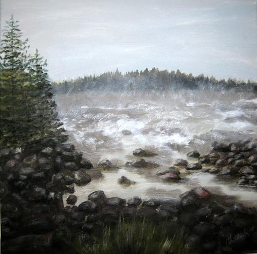 Wunderli Sabine, Fluss in Schweden, Bild in Acryl, Diverse Landschaften, Neo-Impressionismus
