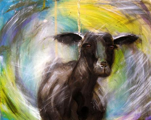 Wunderli Sabine, Schwarzes Schaf, Bild in Acryl, Tiere: Land, Neo-Expressionismus, Expressionismus