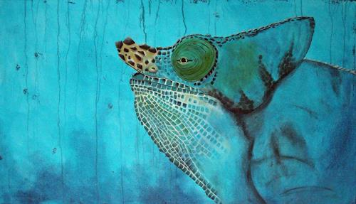 Petra Wittmund, blaues Geheimniss, Natur: Wald, Tiere: Land, Gegenwartskunst, Abstrakter Expressionismus