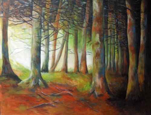 Petra Wittmund, morgen des Lebens, Pflanzen: Bäume, Natur: Wald, Impressionismus, Moderne