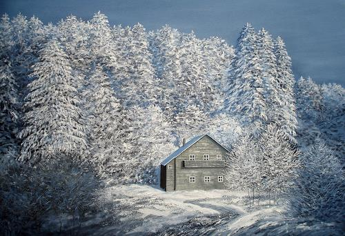 priyadarshi gautam, WHITE VEIL, Landschaft: Winter, Neo-Impressionismus