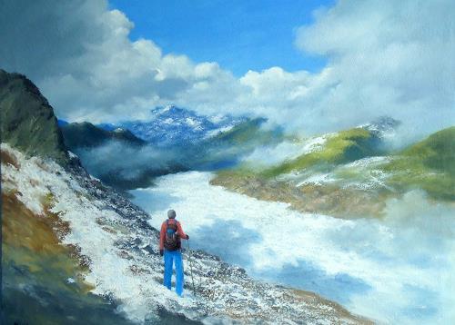 priyadarshi gautam, SIDDHARTH AT ALETSCH, Landschaft: Berge, Natur: Erde, Impressionismus, Expressionismus