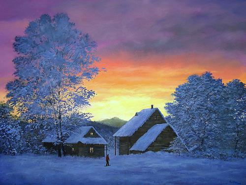 priyadarshi gautam, A WINTER VIEW AT SUNSET, Landschaft: Winter, Natur: Erde, Impressionismus, Expressionismus