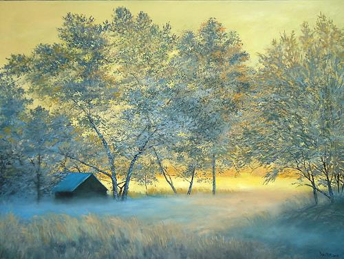priyadarshi gautam, A WINTER VIEW AT SUNSET 2, Landschaft: Winter, Natur: Erde, Impressionismus, Expressionismus