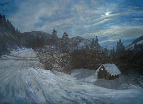 priyadarshi gautam, A WINTER VIEW AT NIGHT, Landschaft: Winter, Natur: Erde, Impressionismus
