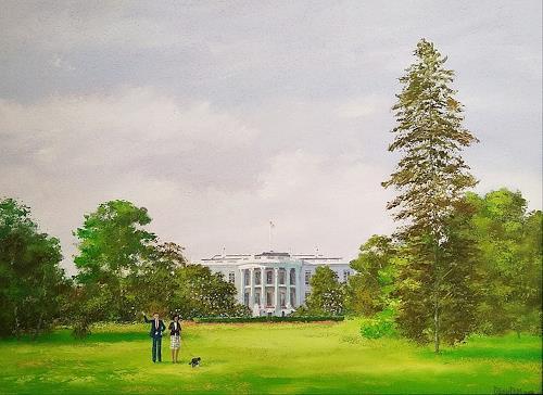 priyadarshi gautam, PRESIDENT ON LEISURE WALK WITH BO, Menschen: Paare, Wohnen: Garten, Impressionismus