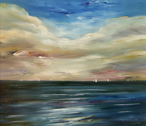 Peter Nottrott, Silent Sea / 100 cm B. x 90 cm H., Landschaft: See/Meer, Fotorealismus, Moderne