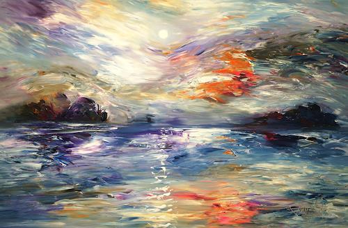 Peter Nottrott, Magical Moonlight XL 1, Landschaft: See/Meer, Informel, Abstrakter Expressionismus