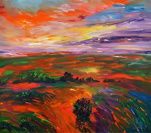 Peter Nottrott, Landscape: Evening Mood XL 1, Landschaft, Landschaft: Ebene, Expressionismus, Abstrakter Expressionismus