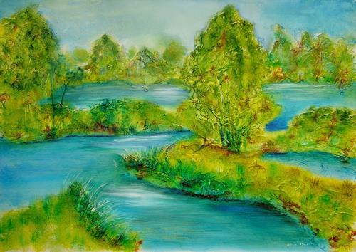 Ulrike Kröll, Flußlandschaft, Landschaft: Ebene, Natur: Wasser, Gegenwartskunst