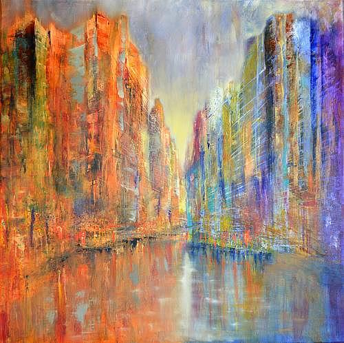 Ulrike Kröll, Skyline am Fluss, Dekoratives, Diverse Landschaften, Moderne, Abstrakter Expressionismus