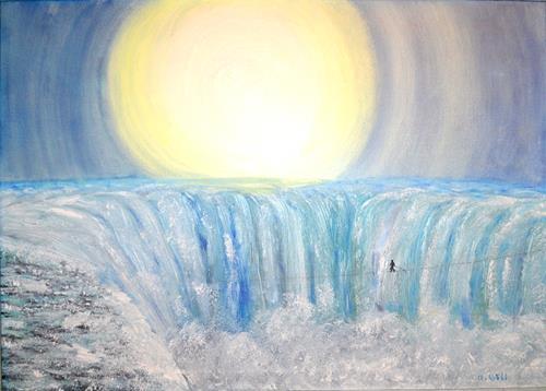 Ulrike Kröll, Nik Wallenda überquerte am 16. Juni 2012 die Niagarafälle, Natur: Wasser, Bewegung, Gegenwartskunst