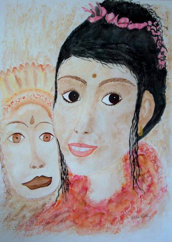 Ulrike Kröll, Tänzerin mit Wayang Topeng Maske, Menschen: Frau, Menschen: Gesichter, Gegenwartskunst