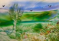 Ulrike-Kroell-Landschaft-Fruehling-Landschaft-Huegel-Moderne-Naturalismus