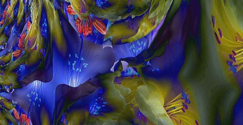 Ulrike Kröll, Blue Light - strukturiert    Digital-ART - limitiert (01/10), Pflanzen: Blumen, Dekoratives, Moderne, Expressionismus