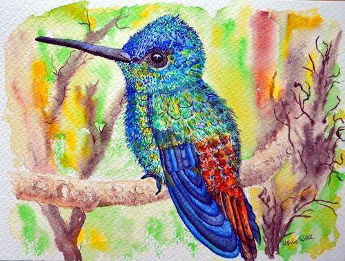 Ulrike Kröll, Kolibri in schillernden Farben, Tiere: Luft, Tiere: Land, Naturalismus
