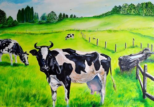 Ulrike Kröll, Glückliche Kühe, Tiere: Land, Natur, Land-Art