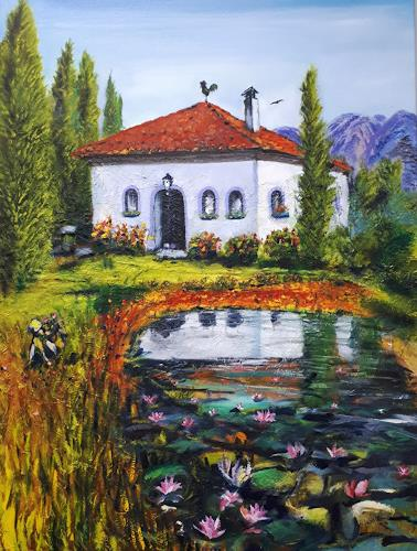 Ulrike Kröll, Toskana - Ölmalerei, Landschaft, Dekoratives, Romantik