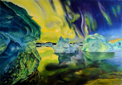 Ulrike Kröll, Nordlichter - immer wieder einzigartig - nach Stefan Forster, Landschaft: Winter, Dekoratives, Naturalismus, Expressionismus