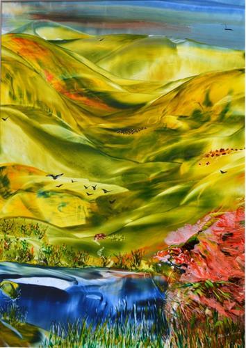 Ulrike Kröll, Weites Land, Landschaft: Hügel, Landschaft: Frühling, Naturalismus, Expressionismus