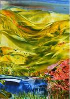 Ulrike-Kroell-Landschaft-Huegel-Landschaft-Fruehling-Moderne-Naturalismus