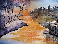 Brigitte-Heck-Landschaft-Herbst-Natur-Wasser-Gegenwartskunst--Gegenwartskunst-