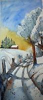 Brigitte-Heck-Landschaft-Winter-Landschaft-Huegel-Gegenwartskunst--Gegenwartskunst-