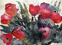 Brigitte-Heck-Pflanzen-Blumen-Dekoratives-Gegenwartskunst--Gegenwartskunst-