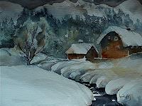 Brigitte-Heck-Landschaft-Winter-Bauten-Haus-Gegenwartskunst--Gegenwartskunst-