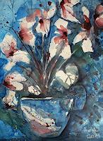 Brigitte-Heck-Stilleben-Pflanzen-Blumen-Moderne-expressiver-Realismus